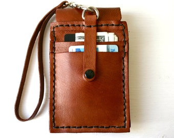 Phone Wallet Case. Brown leather iPhone case with card slots - for him or her - leather wristlet wallet