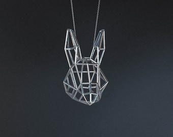 SILVER RABBIT MEDIUM / silver pendant and silver chain