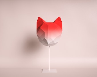 CAT MEDIUM red gradient / do it yourself paper lamp shade