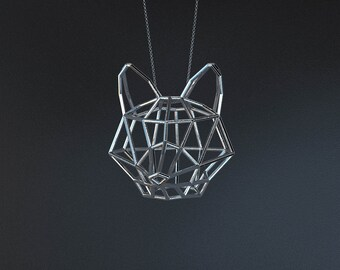 SILVER FOX LARGE / silver pendant and silver chain
