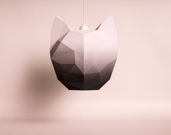 CAT LARGE black gradient / do it yourself paper lamp shade