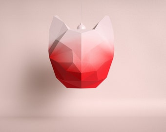 CAT LARGE red gradient / do it yourself paper lamp shade