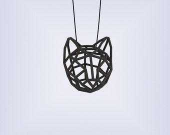 RUBBER CAT LARGE / 3D printed rubber-like pendant