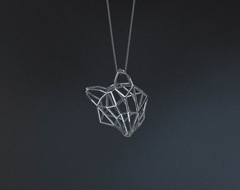 SILVER FOX SMALL / silver pendant and silver chain
