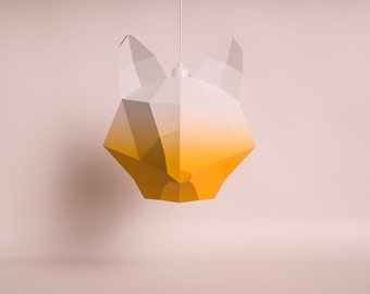 FOX LARGE orange gradient / do it yourself paper lamp shade