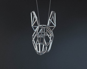SILVER DONKEY LARGE / silver pendant and silver chain