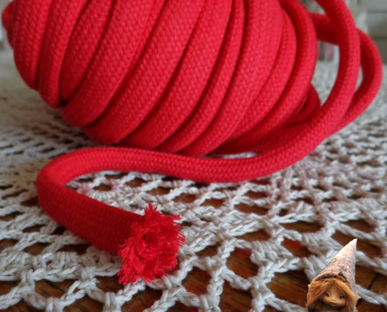 3 meters Cotton Rope 10 mm Red Cotton Cord With Filling for Crafts Jewellery Decorations