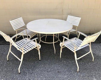 Vtg Mid Century Modern Outdoor Vinyl Lounge Chairs Table Patio Set