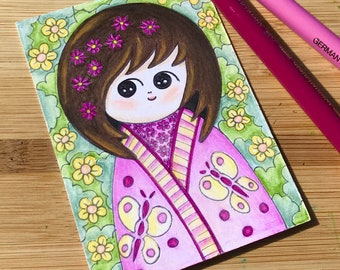 Kokeshi Doll ACEO, Original Japanese Kokeshi Drawing, Oriental Doll Trading Card, Miniature Doll Design Artwork