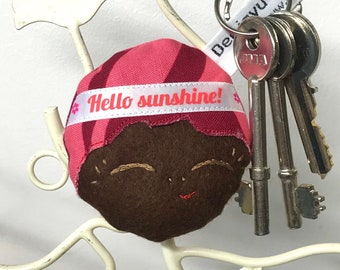 Cute Doll Face Keyring, Doll Bag Charm, Doll Keychain, Japanese Doll Keyring, Oriental Doll Gift, Doll Face Bag Charm, Kawaii Brown Doll