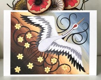 Japanese Crane in Flight, ART PRINT, A4 print of original artwork, Kawaii Decor, Oriental Art Print