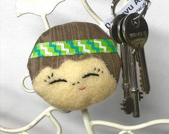 Doll Face Keyring, Cute Doll Bag Charm, Kokeshi Doll Keyring, Doll Keychain, Doll Face Bag Charm, Kawaii Doll