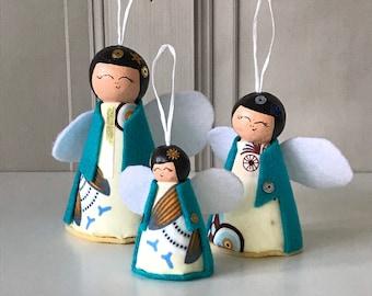 Angel Decorations, Christmas Angel, Tree Decor, Japanese Doll Decorations, Kokeshi Doll, Christmas Gifts