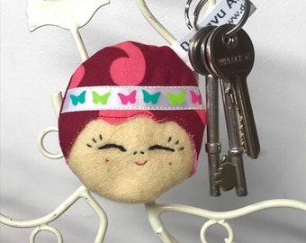 Doll Face Keyring, Cute Doll Bag Charm, Doll Keychain, Japanese Doll Keyring, Kawaii Kokeshi Doll