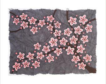 árbol Y Flor Dibujo Arte De Jardín De Flores Blanco Y Negro Etsy