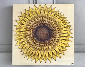 Sunflower Drawing on Wooden Canvas, Original Sunflower Art, Sunflower Canvas, Sunflower Picture, Sunflower Original Artwork