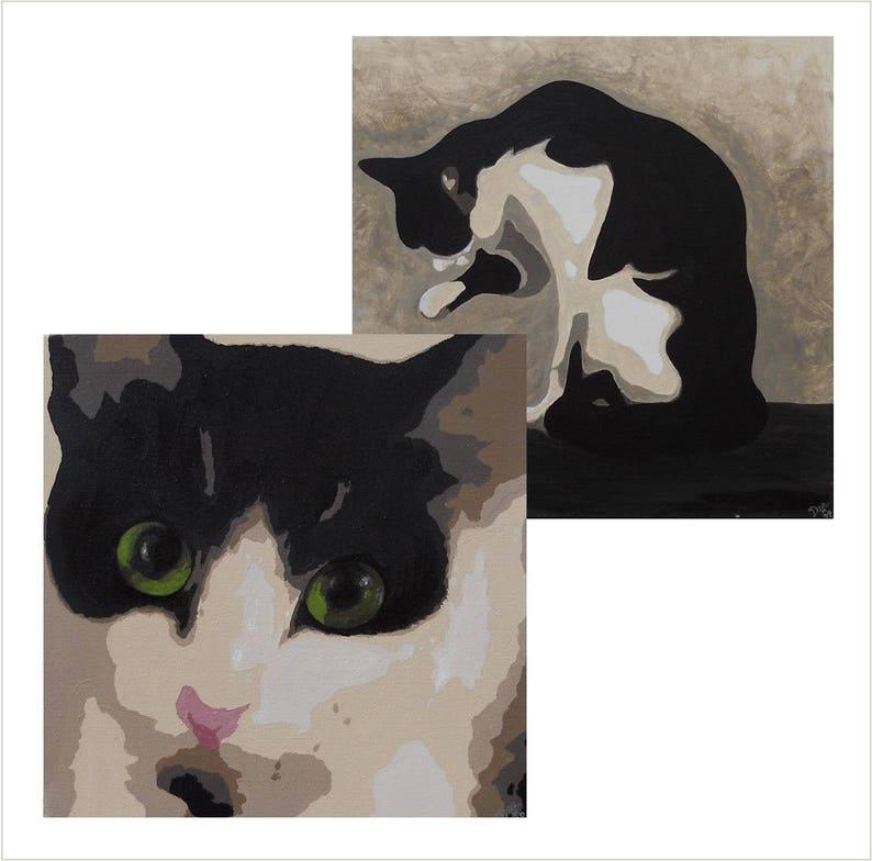Original Cat Art Card Pack Black and White Cat Greetings Card image 0