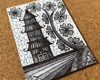 Japanese Pagoda Drawing, ACEO ORIGINAL Pen and Ink Drawing, Artist Trading Card, Miniature Art