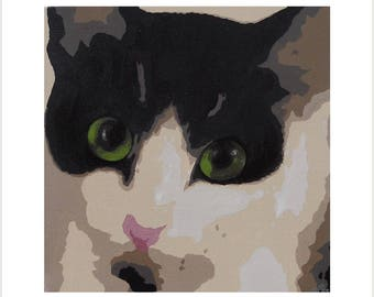 Black and White Cat Greetings Card, Original Art Cat Card, Cat Print Card, Black and White Cat Face Artwork, Blank Cat Birthday Card