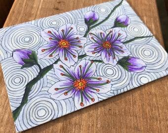 Cherry Blossom ACEO, Hand-drawn Original Flower Artwork, Japanese Blossom Artwork, Artist Trading Card, Collectable Miniature Art Card