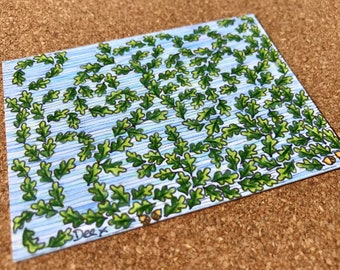 Oak Leaves and Acorns ACEO, ORIGINAL Miniature Art Card, Oak Leaf Illustration, Artist Trading Card, Oak Leaf Drawing,