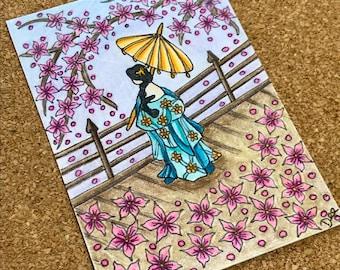 Japanese Geisha ACEO, Hand-drawn Geisha Artwork, Japanese Kimono Artwork, Artist Trading Card, Collectable Miniature Art Card