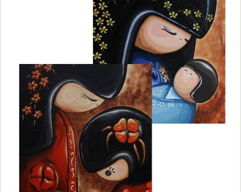 Japanese Kokeshi Doll Pack of 2 Greetings Cards - 'Mother and Child' and 'Mother and Baby', Original Art large blank cards, Mothers Day Card