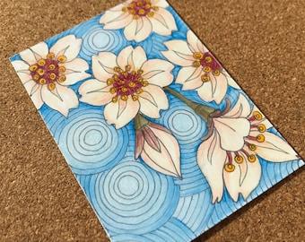Cherry Blossom ACEO, ORIGINAL Artwork, Japanese Cherry Blossom Art, Artist Trading Card, Miniature Flower Drawing