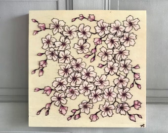 Cherry Blossom Artwork, Cherry Blossom Wall Art, Pink Blossom Drawing on Wooden Canvas, Japanese Blossom Picture