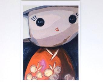 Japanese Kokeshi Doll Birthday Card, Red Doll Card, Original Art Print, Oriental Doll Art, Large Greetings Card, Girls Birthday Card