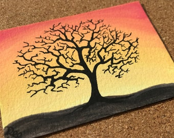 Silhouette Tree ACEO, Original Watercolour Painting, Black Tree at Sunset, Artist Trading Card, Miniature Tree Art Card