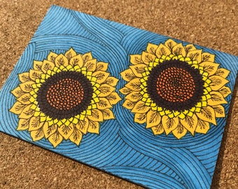 Sunflowers ACEO, Abstract Sunflowers ATC, Original Artwork, Yellow Sunflowers Artist Trading Card, Miniature Flower Drawing, Flower ACEO