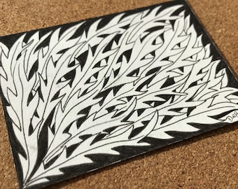 Leaf Design ACEO, ORIGINAL Autumn Leaves Illustration, Black and White Pen and Ink Drawing, Collectable Miniature Artist Trading Card