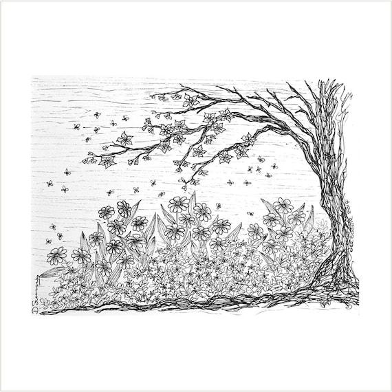 Arbre Et Dessin De Fleurs Noir Et Blanc Fleur Jardin Art Illustration Jardin Fleur Arbre Et Abeilles Carnet De Croquis Arbre Noir Art Original
