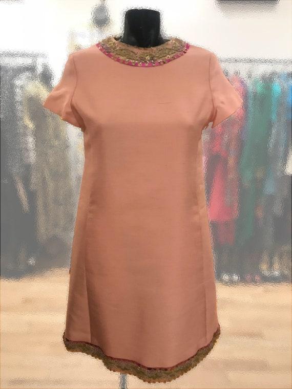 1960's Pink Shantung Silk Shift Dress by Malcolm S