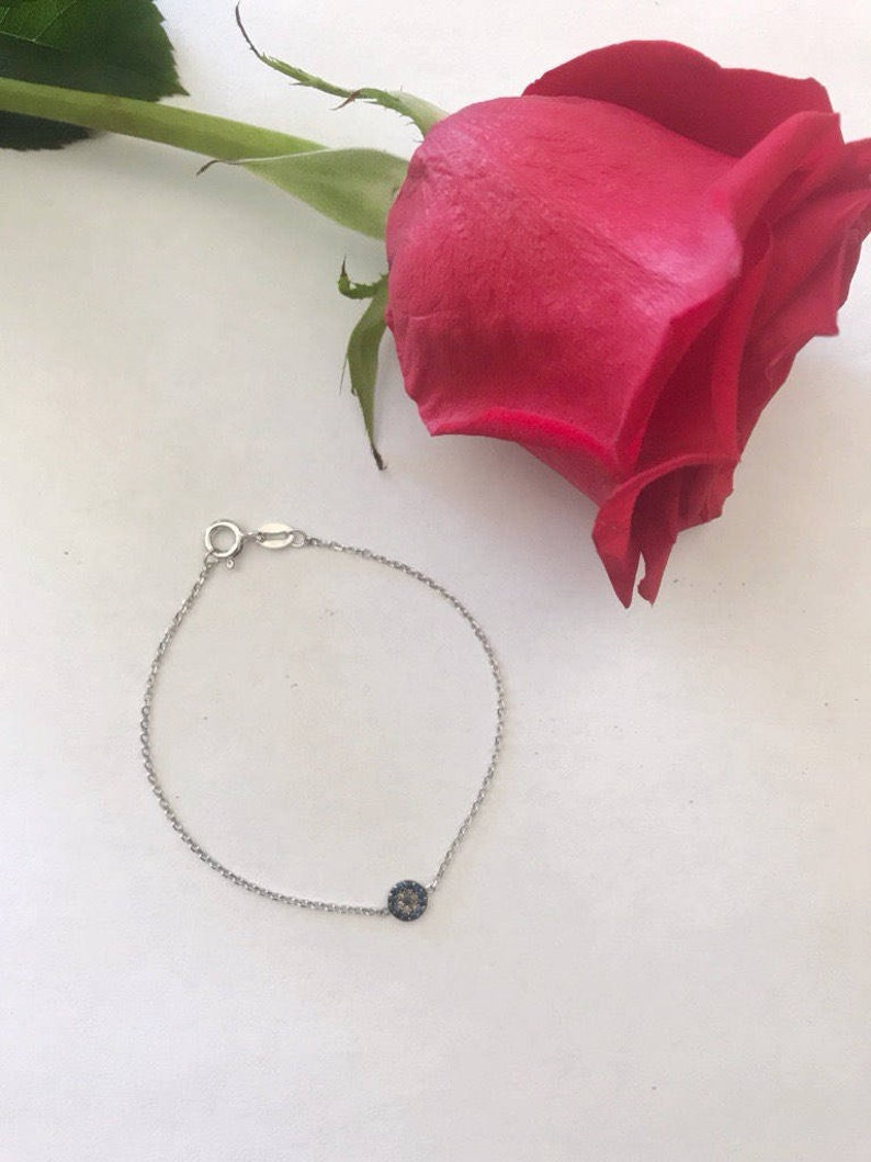 Sterling Silver and Diamond Evil Eye Bracelet-Bridesmaids-Graduation-SpiritualJewelry-Anniversary-Birthday