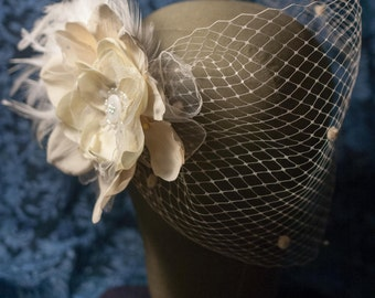Bandeau Veil and Flowers- with handmade appliqués, rhinestones and feathers