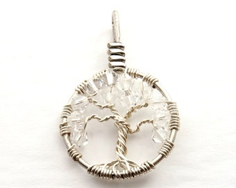 April crystal birthstone jewelry, Wire wrapped tree-of-life necklace, Yggdrasil jewelry, Sterling silver tree of life pendant, Family tree