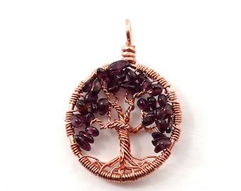 July birthstone necklace, wire wrapped tree-of-life pendant, Gift for wife, Jewelry birthday gift, Gemstone tree-of-life, Sterling silver