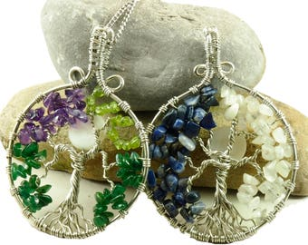 Family tree necklace, Birthstone pendant, Tree-of-life jewelry, Custom Mother's necklace, Wire wrapped tree-of-life, Crystal tree, Mom gift