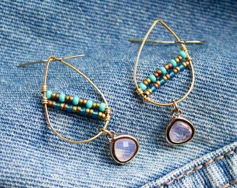 Teal and Pink Teardrops