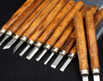 12Pcs Hand Chisel Tool Set Professional Gouges Titanium Stainless Steel Knife Blades Pine Wood Handles Wood Working Carving Tools Kit