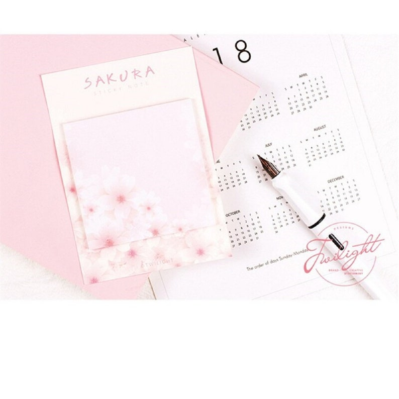 6xLot ADHESIVE NOTEPAD SET Cherry Blossom Print Sakura Bloom Mini Sticky Notes Cute Adhesive Paper Memo Pad Kawaii Note Pads Party Stickers