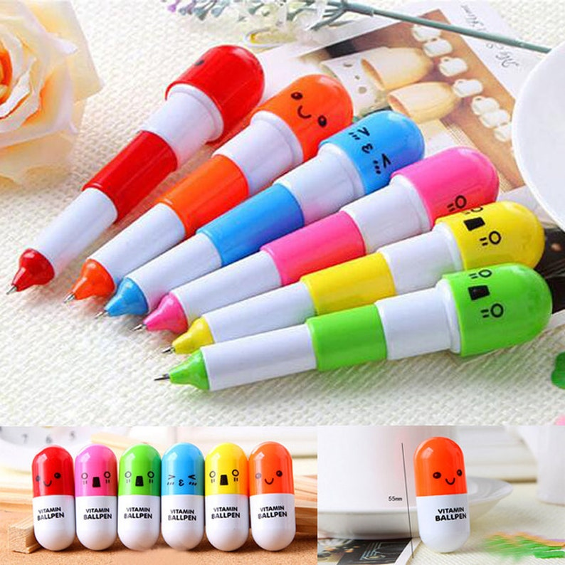 6 CAPSULE PILL PENS Cute Vitamin Pen Set Planner Office Desk Accessories Nurse Med Doctor Pharmacy Technician Tech Gifts School Student Gift