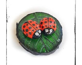 Ladybug rock, hand painted ladybug rocks