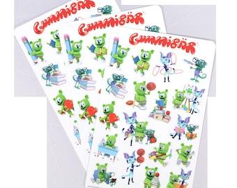 Gummibär (The Gummy Bear) Back to School Stickers ~ 3 Sheets ~ 57 Stickers