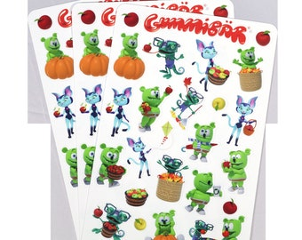 Gummibär (The Gummy Bear) Fall Stickers ~ 3 Sheets ~ 72 Stickers