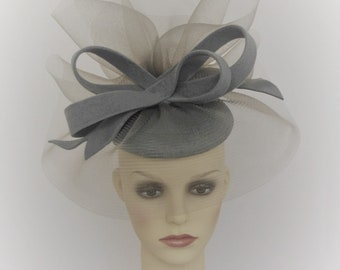 Perfect simple fascinator for weddings Range of colours available SilverGrey Fascinator Hair Clip or Hair band