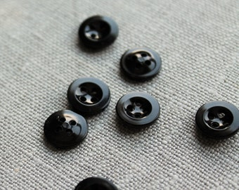 18mm 34 in 8 Vintage New-old-stock Black Shank Buttons NP044 Black Satin Top Burst Buttons w Glossy Sides Etched Black Buttons