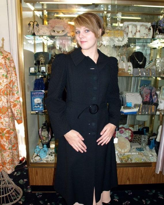 Vintage 1930s Black Wool Silk Geometric Styled Coa
